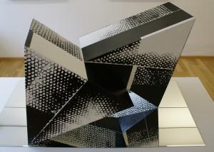 GARTNER, Objekt Variabel, Walzendruck mit Akryl auf MDF-Platte (Basis_Spiegel), Durchmesser 120cm, 2009_Messequer