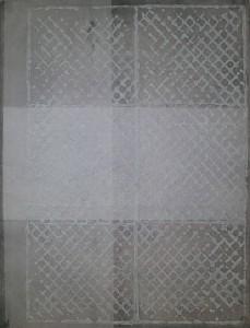 GARTNER, Texturhaut (1), Chinacollage, Stempeldruck mit Akryl auf Papier, 78,5x59,5cm, 1997_Messe
