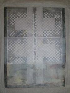 GARTNER, Zwillingskreuz, Chinacollage, Stempeldruck mit Akryl auf Papier, 78,5x59,5cm, 1997